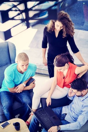 Photo for Startup business people group working everyday job at modern coworking  office space - Royalty Free Image