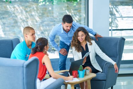 Photo for Startup business people group working everyday job at modern office - Royalty Free Image