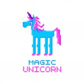 Magic unicorn Abstract unicorn image in the eight bit style on a white background