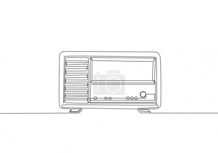 Single continuous line drawing of retro old fashioned analog radio. Classic vintage broadcaster technology concept. Music player one line draw design vector illustration