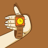Wrist watch hold in hand show time design vector illustration