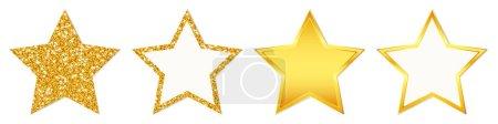 Set von vier geraden goldenen Sternen funkelnd und glänzend