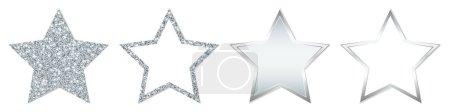 Set aus vier geraden silbernen Sternen, die funkeln und leuchten