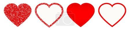 Set von vier geraden roten Herzen, die funkeln und leuchten