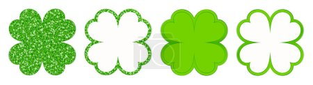 Satz von vier geraden Kleeblättern funkelnd und leuchtend grün