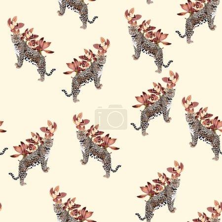 Illustration pour Tropical vintage beige brun fleur d'orchidée et léopard animal motif sans couture, fond jaune. Papier peint jungle exotique. Utilisez pour le textile, robe, papier peint, design de la maison . - image libre de droit