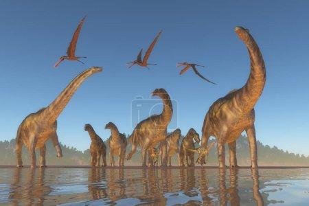 Photo pour Un troupeau d'Argentinosaurus et de Deinocheirus se fâche quand un troupeau de reptiles Anhanguera s'envole pour les approcher . - image libre de droit