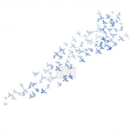 watercolor flying birds silhouettes