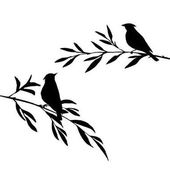 Vector silhouettes of birds at tree hand drawn songbirds at branches Valentine symbol a pair of lovers isolated vector element