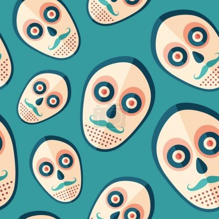 Hipster scary mask flat icon seamless pattern.