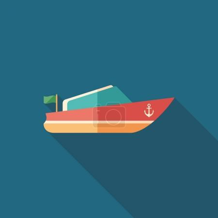 Small motor boat flat square icon with long shadows.