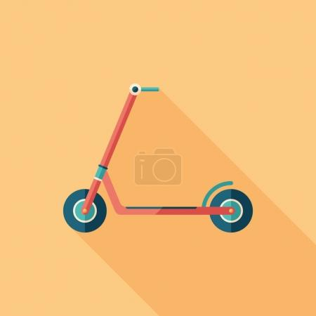 Red kick scooter flat square icon with long shadows.