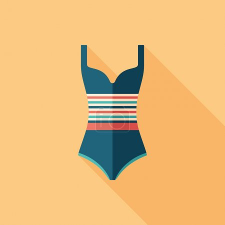 Striped swimsuit flat square icon with long shadows.