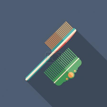 Hair brush and comb flat square icon with long shadows.