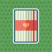 Striped notepad with heart sticker flat icon with color background