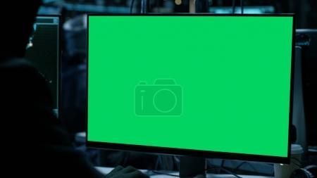 Display With Green Screen in Hackers Den.