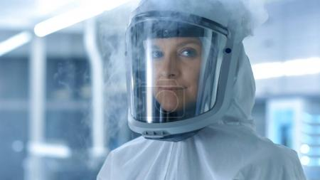 Medical Virology Research Scientist in a Hazmat Suit with Mask,