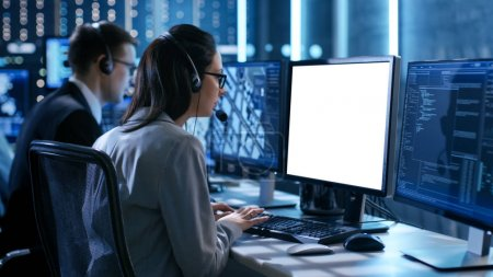 Close up Shot of Female working in a Technical Support Team Give