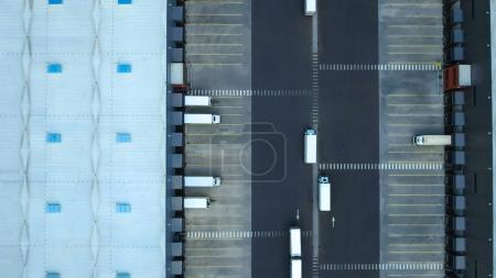 Aerial Shot of Industrial Warehouse/ Storage Building/ Loading A