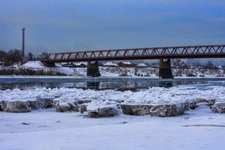 Snowy panorama of bridge