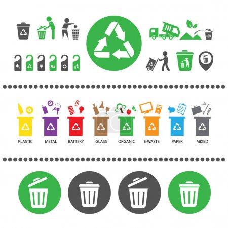 Trash categories recycle garbage bins