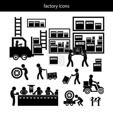 Illustration pour Icônes vectorielles fabricant et distributeur pour le système d'entreprise - image libre de droit