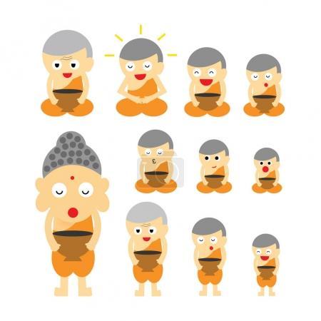 Set of cartoon buddhist monks