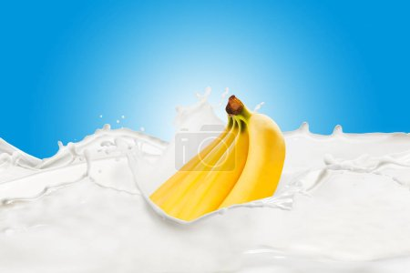 Fresh Bananas With Milk Splash