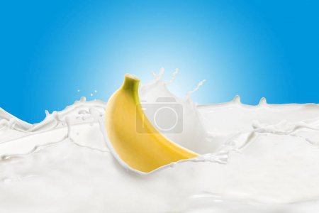 Fresh Banana With Milk Splash