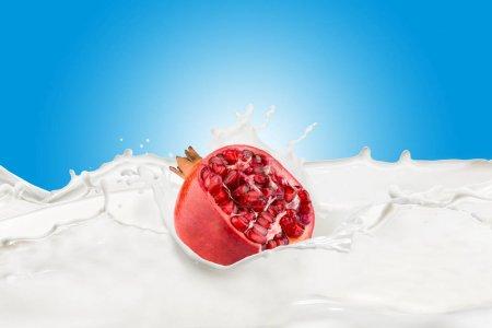 Fresh Pomegranate With Milk Splash