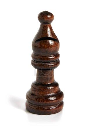 Wooden bishop brown chess piece black team