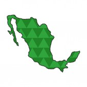 Dotted line map of Mexico