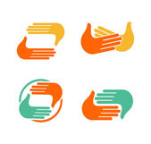 Isolated abstract clapping hands logo set Give five logotype collection Shaking hands sign Greeting symbol Positive friendly congratulating gesture iconPhoto shooting studio Vector illustration