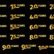Isolated golden color numbers with word years icon...