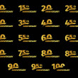Isolated golden color numbers icons collection on ...