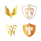 Isolated golden color angel silhouette logo set shield with religious element logotype collectioncoat of arm with archangel vector illustrations on white