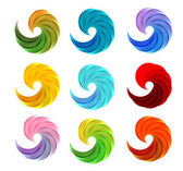 Isolated abstract colorful swirl logos set on white background vector illustration waves logotypes collectioncircular shape loading emblems