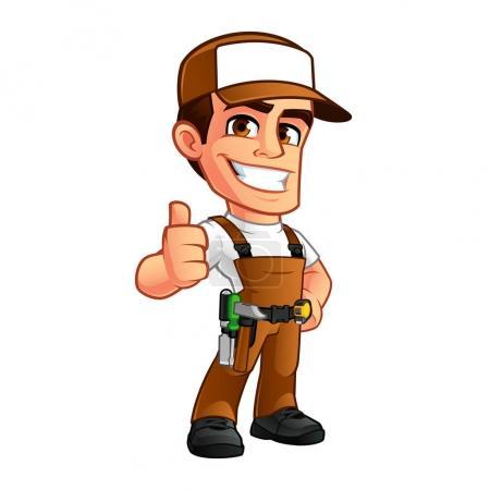 Illustration pour Amical menuisier, il est vêtu de vêtements de travail - image libre de droit