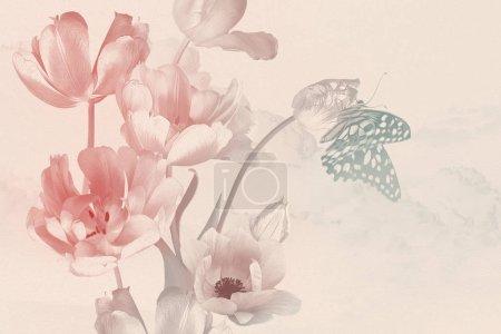 Foto de Bouquet de flores de jardín de primavera tulipanes y mariposas. Decoración floral. Historia de la naturaleza. Ilustración del estilo de pintura al óleo. Color pastel. Patrón para banners, tarjetas, carteles, invitaciones de boda.. - Imagen libre de derechos