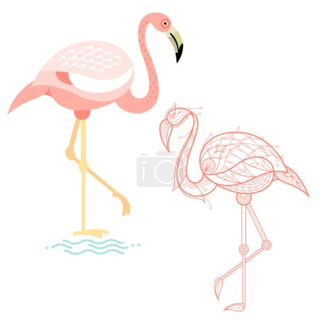 Decoration and flat flamingos.
