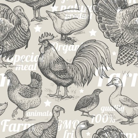 Seamless pattern with poultry.