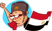 egyptian supporter with ushanka hat and national flag russia 2018 world cup football fan cartoon style vector illustration egypt soccer fan