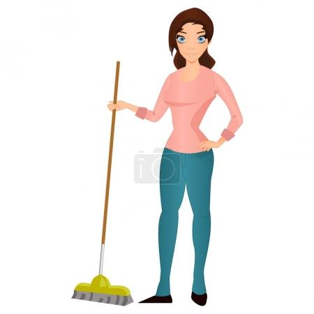 Illustration for Beautiful young brunette woman housewife with a mop , home cleaning and homework vector Illustration - Royalty Free Image