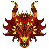 Patterned dragon head Colored doodle dragon