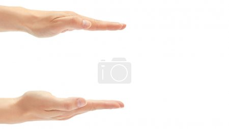 Beautiful female hand measure measure gesture. Isolated on white background. copy space, template
