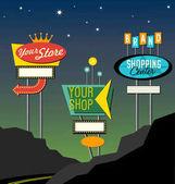 set of retro lighted roadside signs Edit for your design