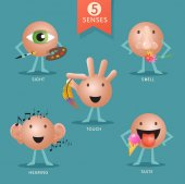educational cartoon characters representing the five senses