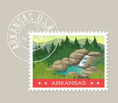 Arkansas vector illustration of waterfall and hot spring in the Ozarks