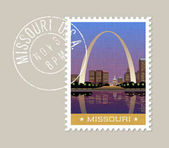 Missouri vector illustration of Gateway Arch and downtown St Louis