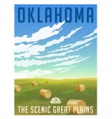 Oklahoma United States retro travel poster or luggage sticker Scenic field with round hay bales vector illustration